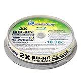 10 Pack Smartbuy 2X 25GB Blue Blu-ray BD-RE Rewritable White Inkjet Hub Printable Blank Bluray Disc