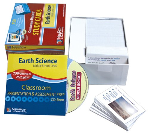 NewPath Learning Middle School Earth Science Study Card, Grade 5-9 ()
