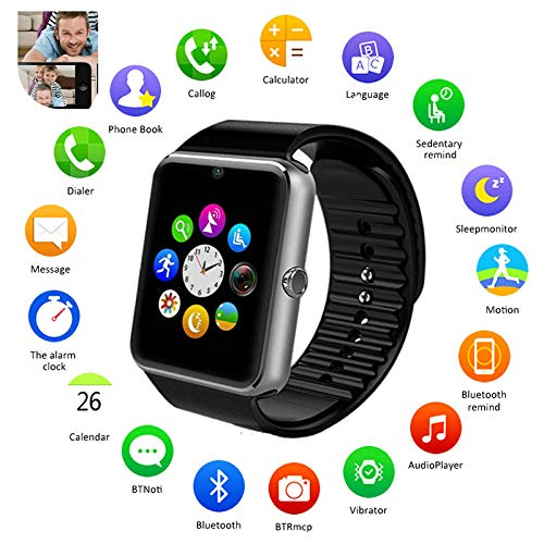 Kids Boys Smart Phone Watch ,With Camera Multifunction Bluetooth Smart Watch With SIM Card Slot,Alarm clock, Calculator, SMS Calling Remind,Support Samsung Android (Without A SIM card)GT08 (Camera Calculator)