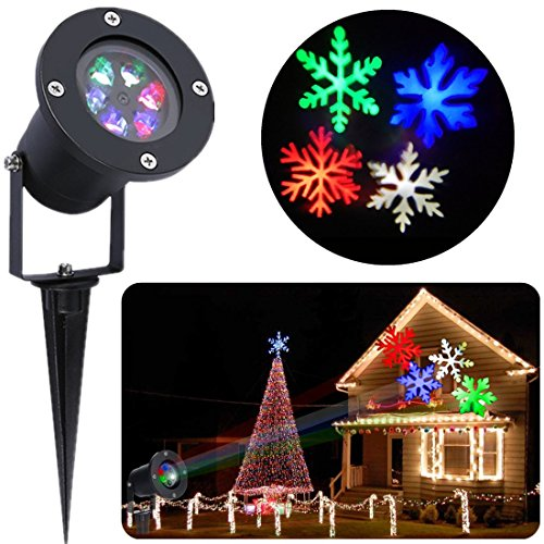 Christmas Projector Lights Multi-color Snowflake, S&G LED Landscape Projector Light Holiday Decoration Spotlight for Xmas/Holiday/Party/Landscape/Garden (Snowflake)