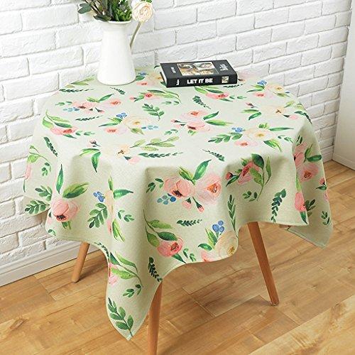 A 110110cm William 337 Petites nappes en lin frais de coton Nappes rondes de table Nappes de table basse de la maison Nappes de salon Nappes pastorales (Couleur   A, taille   110  110cm)