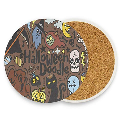 (Coasters for Drinks,Halloween With Vampire Ceramic Round Cork Trivet Heat Resistant Hot Pads Table Cup Mat Coaster-Set of 2)