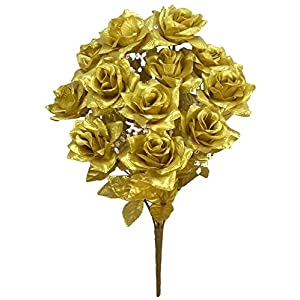 Admired By Nature GPB293G-GOLD 12 Stems Artificial Satin Rose Flowers Bush, Gold 72