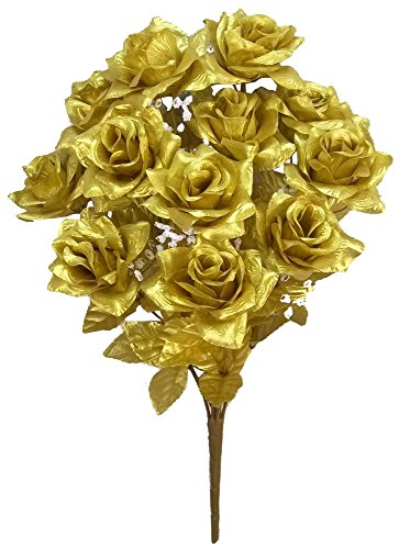 Admired By Nature GPB293G-GOLD 12 Stems Artificial Satin Rose Flowers Bush, ()