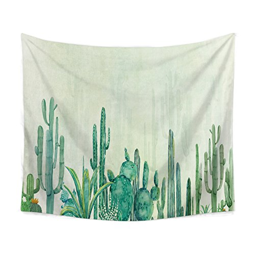 """Cactus Decor Tapestry Wall Hanging Saguaro Cacti Watercolor Printed Tapestry Bedroom Living Room Dorm Headboard Home Decor Beach Throw Tablecover HYC05-B (W:59"""" x H:51"""", 4)"""