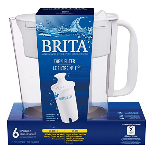 Brita Standard Metro Water Filter Pitcher, Small 5 Cup 1 Count, White (Lid Function May Vary)