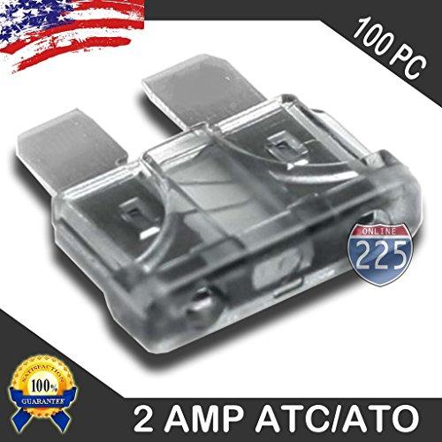 100 Pack 2 AMP ATC/ATO Standard Regular Fuse Blade 2A Car Truck Boat Marine RV
