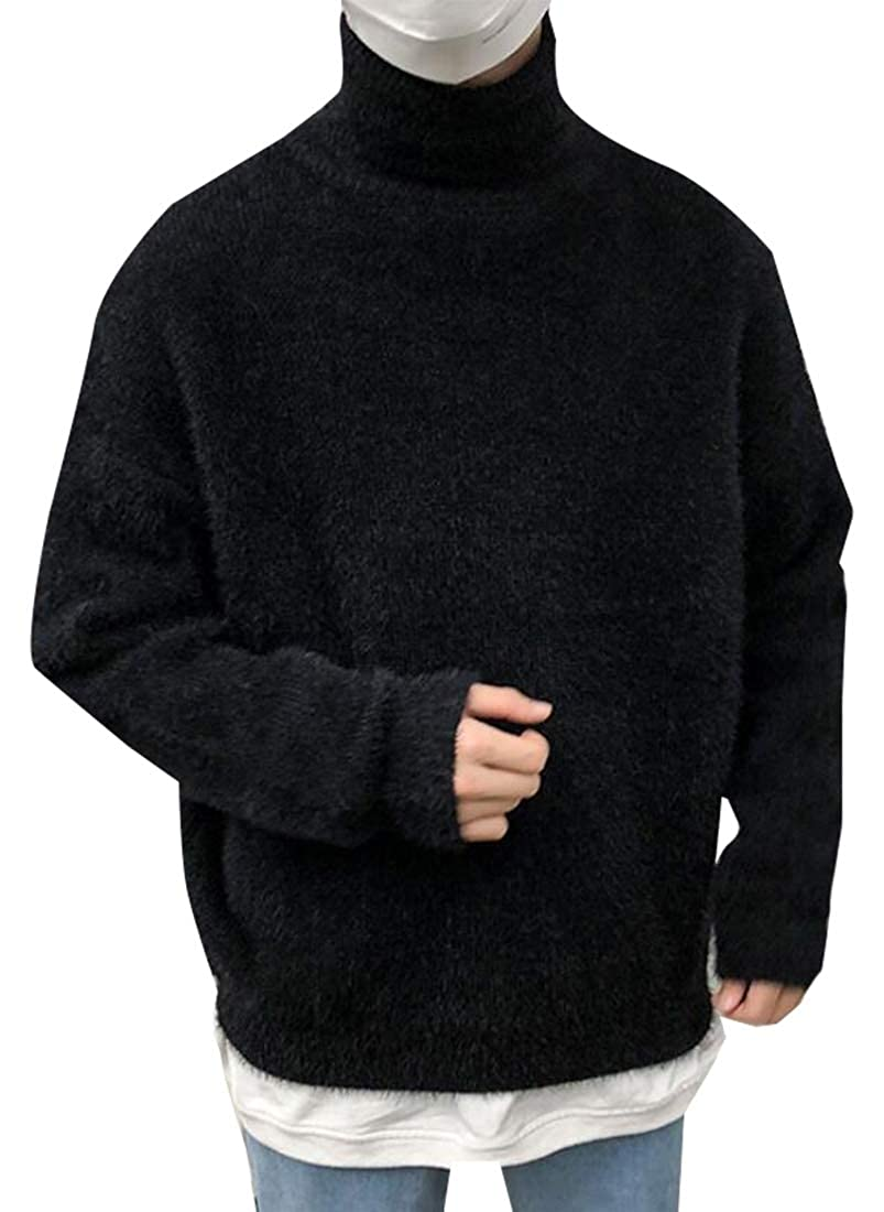 Britainlotus Mens Casual Twisted Knitted Cotton Turtleneck Sweater Pullover Sweaters