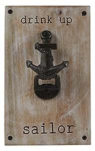 """Mud Pie Anchor Bottle Opener, 9"""" x 6"""", Silver"""
