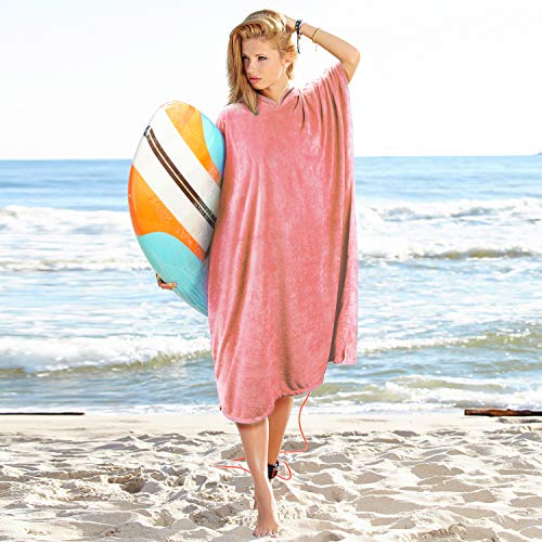 Catalonia Hooded Surf Towel Poncho,Super Water Absorption Microfiber Beach Sand-Proof Wetsuit Changing Robe for Adults Men Women Surfing Swimming Bathing Pink (Women Surf)