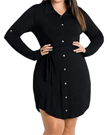 Gobought Womens Plus Size Button Down Shirt Dress Roll Up Long Sleeve  Collar Dresses with Belt