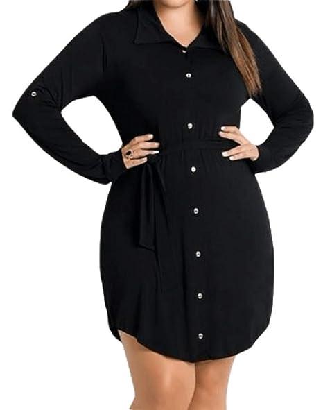 Gobought Womens Plus Size Button Down Shirt Dress Roll Up Long Sleeve  Collar Dresses with Belt