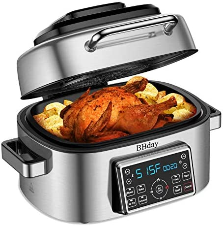 BBday Air Fryer,6.5 QT 10-in-1 LED Digital Display Smart Indoor Grill with Air Fryer,Roast,Bake and Dehydrate,Stainless Steel