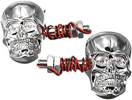 BLACK 2 Clignotants LED Tete de Mort Skull