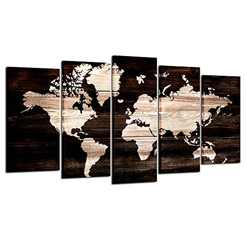 Kreative Arts - Modern Abstract Wall Art World Map Canvas Painting Vintage Style Picture Prints for Living Room Home Decor Ready to Hang 5pcs/Set (Large Size (Abstract Modern Print)