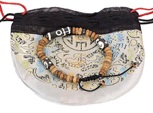 Tibetan Mala Yak Bone Dzi Beads Wrist Mala/ Bracelet for Meditation BM-27