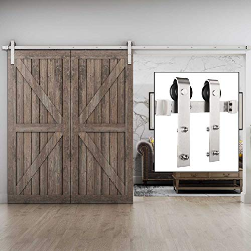 EaseLife 10 FT Heavy Duty Nickle Sliding Barn Door Hardware Track Kit - Ultra Hard Sturdy | Slide Smooth Quiet | Easy Install | Fit 52