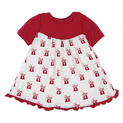 Kickee Pants Little Girls Print Classic Short Sleeve Swing Dress, Natural Gumball Machine, 2T]()