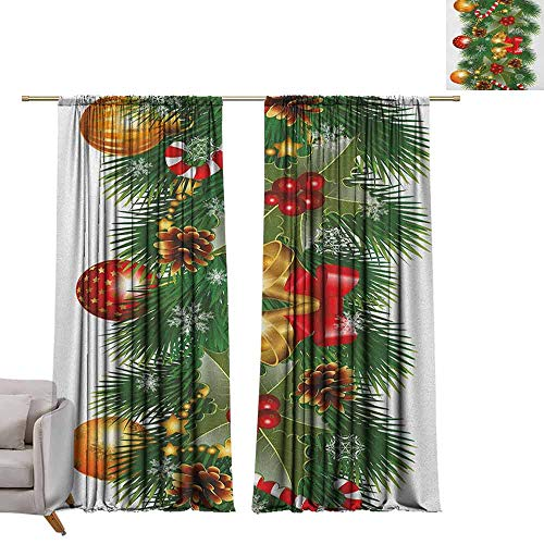 Thermal Insulating Blackout Curtain Christmas,Pine Tree Branch Detailed Ornaments Bells Berries and Cones Cheerful Holiday Noel, Multicolor W72 x L96 Waterproof Window Curtain