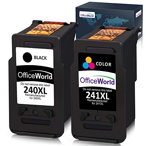 Office World Remanufactured Ink Cartridge Replacement for Canon PG-240XL 240 XL CL-241XL 241XL for Canon Pixma MG3620 MX472 MX452 MG3220 MG3520 MG2220 MX532 MX392 MX432 MX512 (1 Black + 1 Tri-Color) (Pg 240 Black Cartridge Cl 241 Color Cartridge)