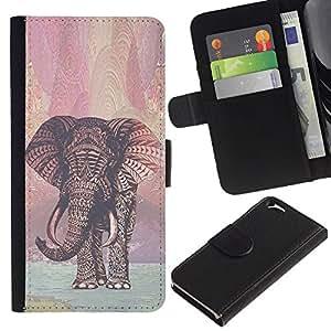 KLONGSHOP // Tirón de la caja Cartera de cuero con ranuras para tarjetas - reno patrón rojo navidad Navidad - Apple Iphone 6 //