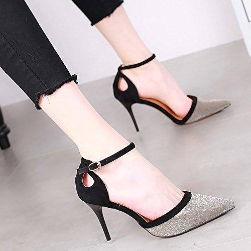 KPHY-Bereits 9Cm Hochhackigen Schuhe Dünne Damenschuhe Sohle Damenschuhe Dünne Sexy Aufgewölbte Schnallen Witze Einzelne Schuhe. schwarz b6d8fb