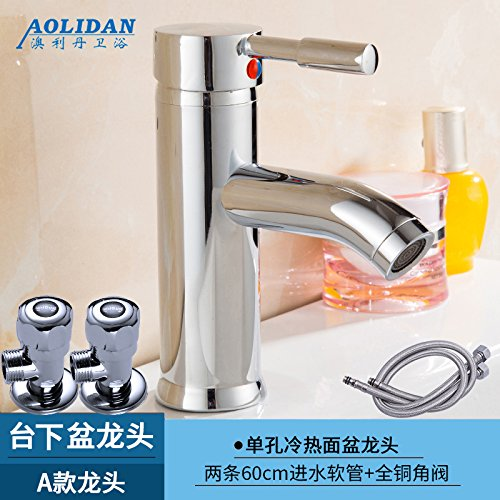 A Leading + Two Hose + Angle Valve Hlluya Professional Sink Mixer Tap Kitchen Faucet Basin and cold water faucet wash basin mixer basin taps on the console (A) The dragon head + two hose