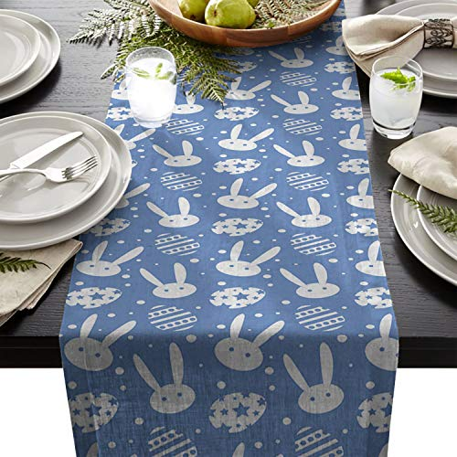 Easter Themed Cotton Linen Table Runners Cute Bunny Eggs, Blue Cute Bunny Eggs, Blue Tablecloths for Kitchen Garden Wedding Parties Dinner Indoor Outdoors Home Decorations (13