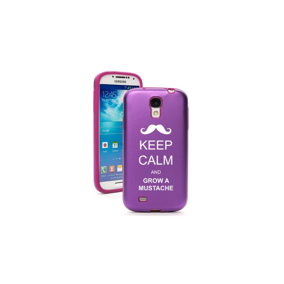 Purple Samsung Galaxy S4 S IV i9500 Aluminum & Silicone Hard Back Case Cover KA621 Keep Calm and Grow A Mustache