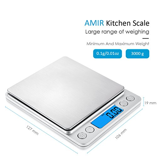 Amir 3000g digital food scale pocket kitchen scale for 0 1g kitchen scales