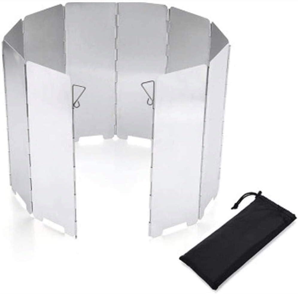 Estufa de campo Parabrisas, 10 placas de peso ligero plegable de picnic al aire libre Cocina Estufa viento del parabrisas de pantalla for la estufa que acampa Backpacking la estufa de butano for horno