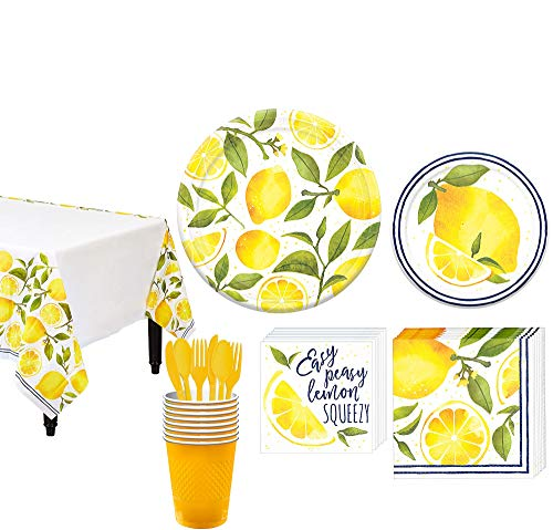 Party City Lemon Tableware Kit for 8 Guests, 93 Pieces, Includes Plates, Napkins, Cups, a Table Cover, and Utensils