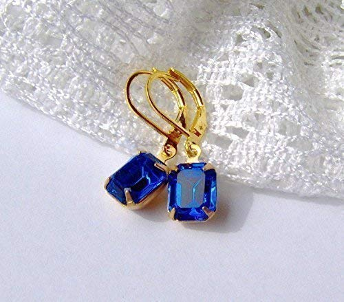 - Capri Blue Rhinestone Dangle Leverback Earrings made with Swarovski crystals