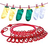 Daixers Portable Travel Outdoor Windproof Clothesline with 12 Clips (Red)