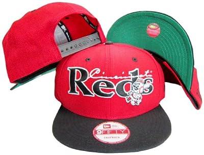 Cincinnati Reds Red/Black Two Tone Plastic Snapback Adjustable Plastic Snap Back Hat / Cap