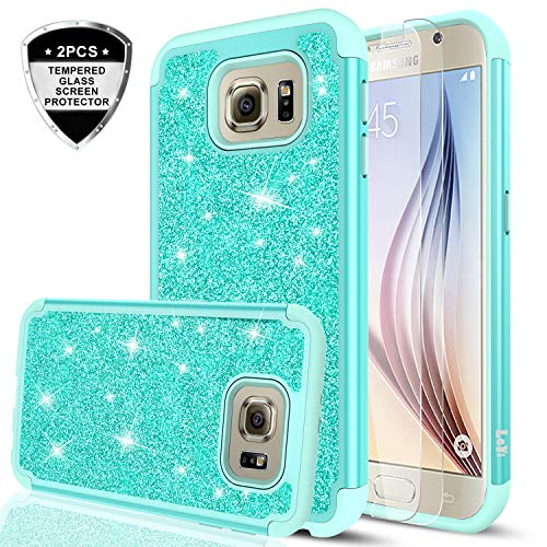 Galaxy S6 Glitter Case with Tempered Glass Screen Protector [2 Pack],LeYi Bling Cute Girls Women [PC Silicone Leather] Dual Layer Heavy Duty Protective Phone Case for Samsung Galaxy S6 TP Mint
