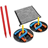 Rubber Horseshoes Game Set for Outdoor Indoor Games-Includes 4 Horseshoes,2 Pegs,2 Rubber Mats,2 Plastic dowels.1 Mesh bag–Beach Games Perfect for Backyard and Fun for Kids and Adults!(Orange&Blue)