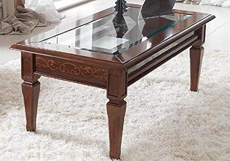 con gambe rettangolari in legno per soggiorno Infilm tavolo da attesa con ripiano inferiore 100 cm conversazione e tempo libero tavolino da salotto in vetro