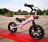 12 inchs Balance Bike Treadless Children's Road Bicycles Scooter Free wh Sleigh Baby Walker Bicman (Pink)
