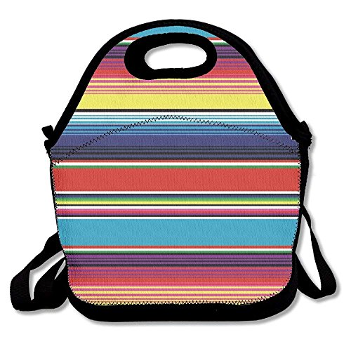 Colorful Mexican Blanket Stripes Lunch Bags Lunch Tote Lunch Box Handbag For Kids And Adults