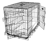 GoGo Pet Products Double Door Black Epoxy Folding Wire Crate, 48-Inch