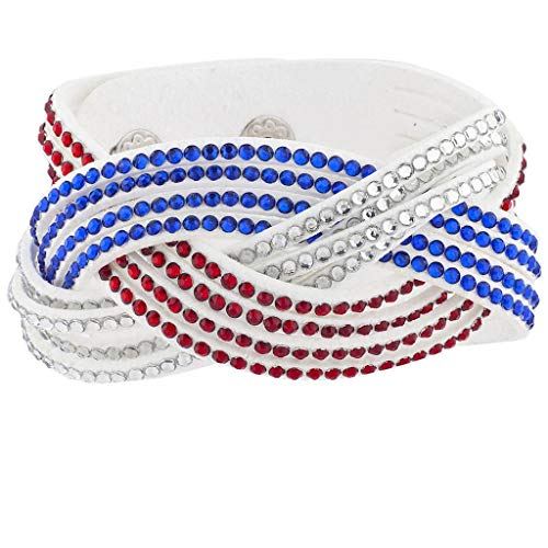 Lux Accessories Patriotic White Suede Red Crystal Blue Stone Wrap Bracelet -