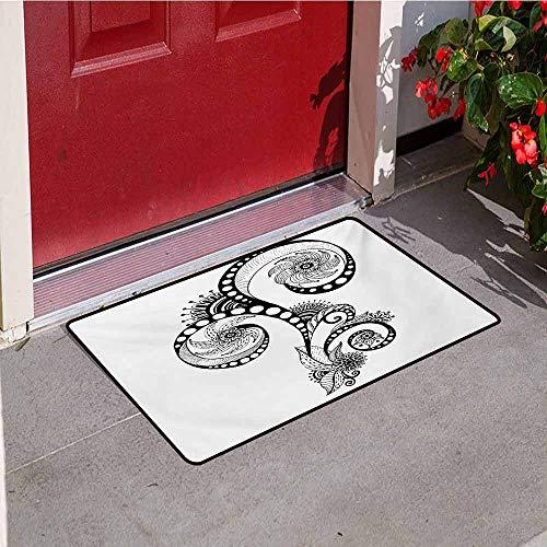 Jinguizi Henna Commercial Grade Entrance mat Mehndi Body Art Doodle in Black and White Abstract Floral Arrangement Illustration for entrances garages patios W35.4 x L47.2 Inch Black White