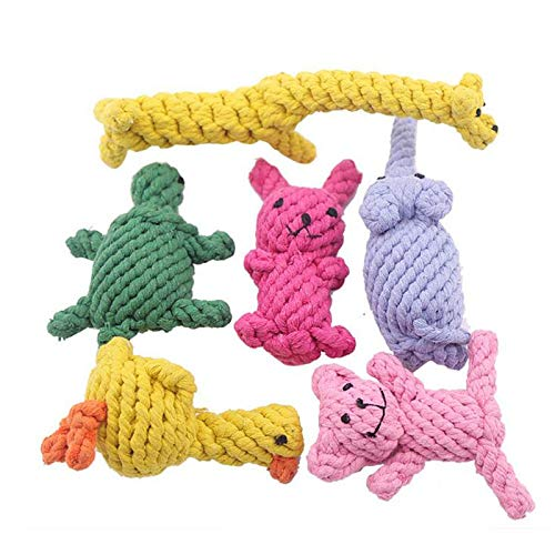 FirePB Pet Toy Dog Toy Chewing Tooth Cleansing Rope With Handling Knot Pet Toy Training Little Dog Cat Bite Resistant Ball Teeth Molars M 6 pcs for 1 set