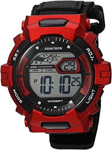 Armitron Sport Men's 40/8412RED Red Accented Digital Chronograph Black Nylon Strap Watch