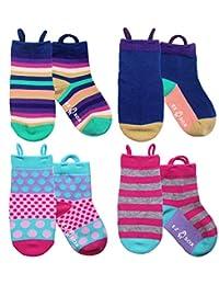 Girls Toddler Socks Seamless Toe, Non-skid Grippers, Ez Pull Up Loop