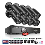 ANNKE 16-Channel 1080P Lite DVR Security System with 1TB Hard Drive and (8) 1280TVL 1MP Outdoor Weatherproof Bullet Cameras, Mobile Remote Access, Live Viewing