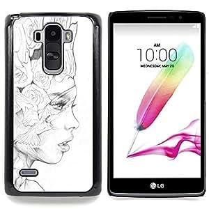 For LG G4 Stylus H631 MS631 H635 H540 H630D H542 , Negro Lápiz Mujer Fashion Art - Diseño Patrón Teléfono Caso Cubierta Case Bumper Duro Protección Case Cover Funda
