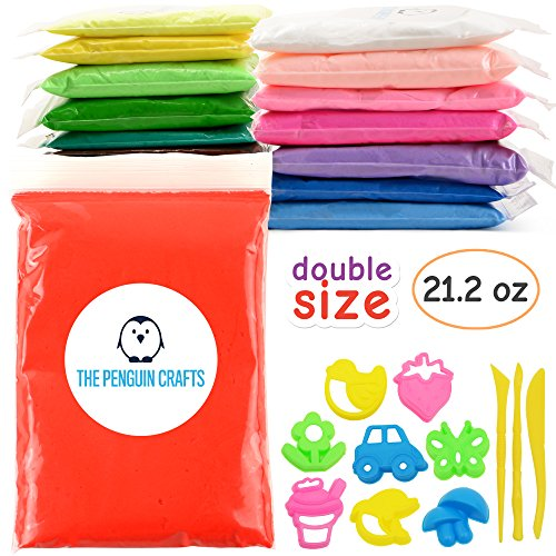 - Air Dry Clay, Ultra Light Modeling Clay for Kids - 15 Colors DIY Air Dry Modeling Clay with Double Sized Bags (1.4 oz per color) with Tools and Models, Non-sticky and Non-Toxic