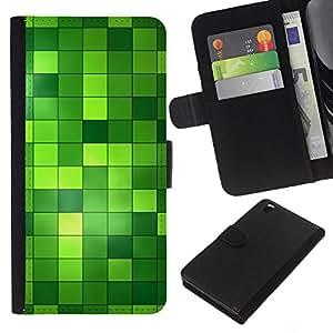 EJOY---La carpeta del tirón la caja de cuero de alta calidad de la PU Caso protector / HTC DESIRE 816 / --Patrón a cuadros verde brillante de Bling